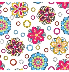 Seamless background with doodle circles vector