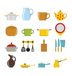 Set flat cartoon dishes items vector