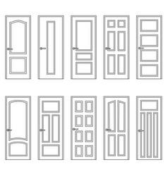 Set of contours of doors vector