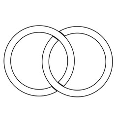 Two bonded wedding rings the black color icon vector