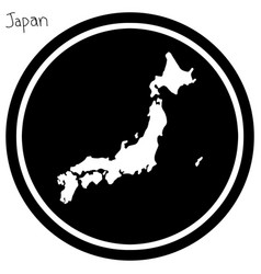 white map of japan on black circle vector image vector image