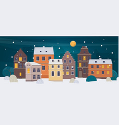 winter city landscape old town with different vector image vector image