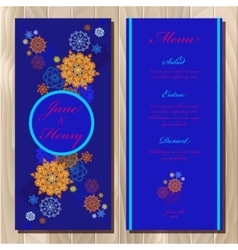 Winter snowflakes design wedding menu card vector image vector image