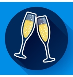 Two glasses of champagne flat icon - celebration vector