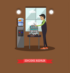 engine repair concept in flat vector image