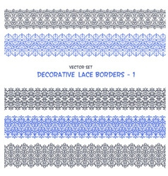 Decorative floral lace seamless borders vector