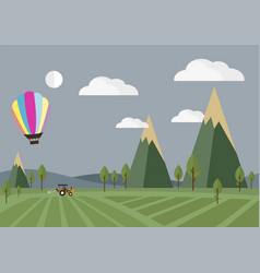 Tractor in the field with balloon vector