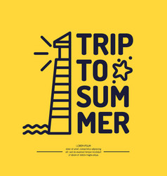 Lighthouse and summer travel in linear style vector