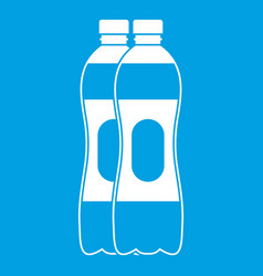 Two plastic bottles icon white vector