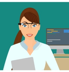 Businesswoman close-up wearing a smart glasses vector