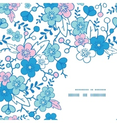 Blue and pink kimono blossoms frame corner vector