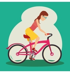 Women riden a bike vector