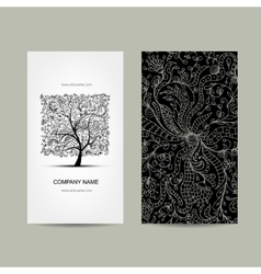 Vintage business cards floral tree design vector