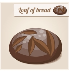 Detailed icon loaf of homemade brown bread vector