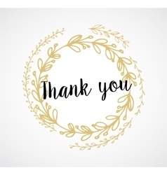 Thank you - card with gold laurel wreath and text vector
