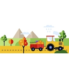 Farm tractor with harvest of vegetables vector
