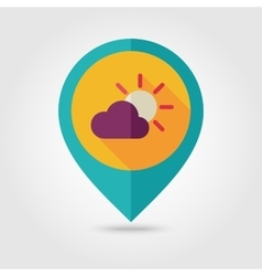 Sun and cloud flat pin map icon Weather vector image