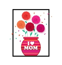 Mothers day background with pot of flowers vector