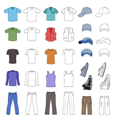 Outlined colored menswear headgear shoes vector