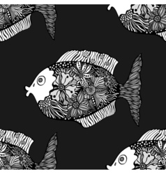 Seamless background of abstract fish vector