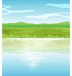 A calm blue lake vector image