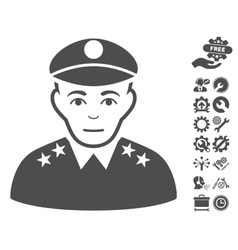 Army general icon with tools bonus vector