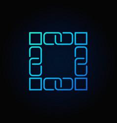 Blockchain technology blue icon block vector