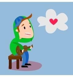 Boy playing guitar flat vector image