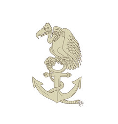 buzzard perching navy anchor cartoon vector image