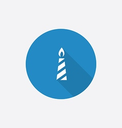 candle Flat Blue Simple Icon with long shadow vector image vector image