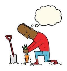 Cartoon gardener with thought bubble vector
