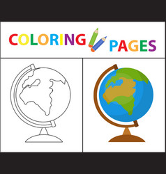 coloring book page globe sketch outline and vector image vector image