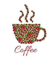 Cup symbol of fresh and roasted coffee beans vector image