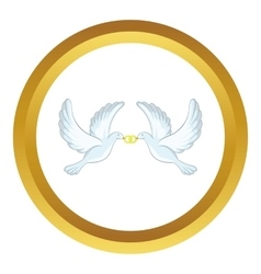Doves with rings icon vector