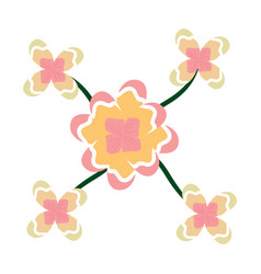 Flowers leaves decoration natural ornament vector