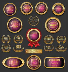 golden badges and labels collection 13 vector image vector image