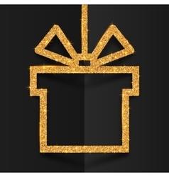 Golden glitter gift box silhouette frame with vector