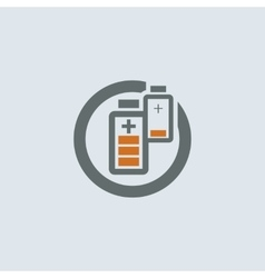 Gray-orange Battery Round Icon vector image