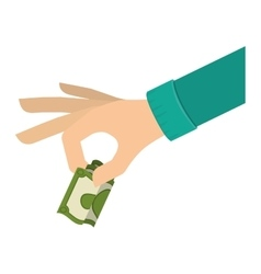 Hand holding dollar with green sleeve vector