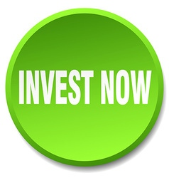 Invest now green round flat isolated push button vector