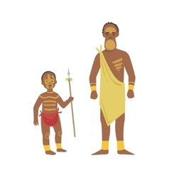 Man And Boy From African Native Tribe vector image