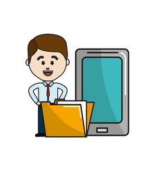 Man with smarphone and digital folder file vector