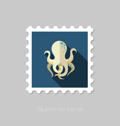 Octopus stamp summer vacation vector