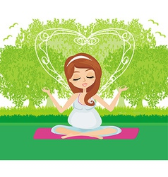 Pregnant woman relax doing yoga vector