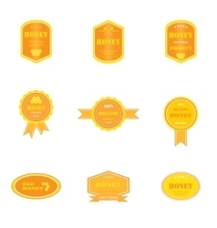 Set of logos for honey products vector