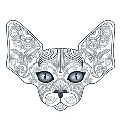 tattoo head sphinx cat with floral ornaments vector image