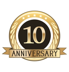 Ten year anniversary badge vector