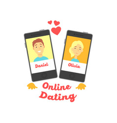 Two smartphones with man and woman characters vector