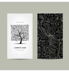 Vintage business cards floral tree design vector
