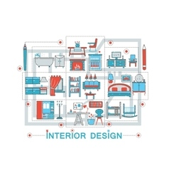 Modern flat thin line interior art design concept vector